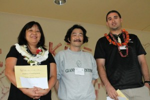 2012 Excellence in Teaching Award Winners: Noriko Fujimoto-Vergal (Island Pacific Academy - Japanese) on the left and Sheldon Ormsby (Mililani High School - Spanish) on the right. HALT President Satoru Shinagawa stands with them in the center.